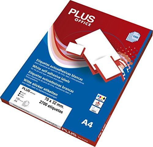 Etiquetas Autoadhesivas Plus Office Blancas 70 x 32 mm 2700 etiquetas