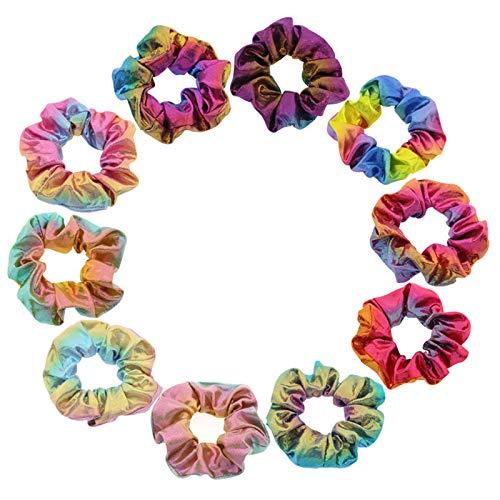 Scrunchies tela de scrunchy Scrunchie brillante Scrunchies de tela multicolor Scrunchies Elásticos Pastel Scrunchies tela colores para cola de caballo, mujeres, niñas, damas, niños (10 colores