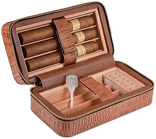 LIUYULONG humidor de Puros Caja de Humidor de Cigar Cigar, Cedar Funda de Cuero portátil Alineada de Madera con humidificador y bandejas extraíbles