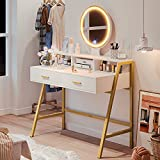 Tiptiper Vanity Table Set with Lighted Mirror & 3 Color Lighting Modes, Makeup Vanity Desk with 2 Large Drawers & Desktop Shelf, Elegant Dressing Table with Metal Frame for Women Girls, Gold & White