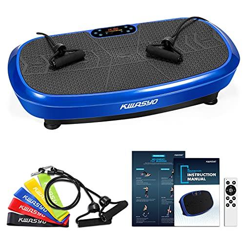 Kwasyo 3D Power Vibrationsplatte| Verlieren und Fitnesstraining von Zuause | 10 Trainingsprogramme + 99 Stufen | Bluetooth Lautsprecher | 2 den Widerstandsbändern+5 Fitness-Bänder Extra+Remote&Poster