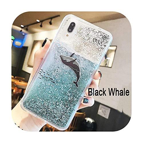 Phonecase - Carcasa líquida con purpurina para iPhone 7 7 8 6 6S Plus X Xr Xs Max fundas para Huawei P20 Lite Pro Case Whale Bear Quicksand Dynamic Cover