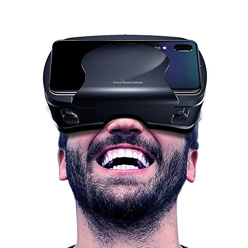 Virtual Reality Headset, 3D VR Goggles HD View VR Headset Compatible with 3.5-6.5 Inches Phones Including VR Samsung,VR for iPhone XS/X/8/8 Plus/7/7Plus/6/6Plus/6s/5 Virtual Glasses (Black)