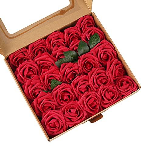 ASYOUWISH Flores Artificiales, 25 Rosas Artificiales, Sala de Estar, Estudio, Dormitorio, Decoración del Hogar, Regalos para San Valentín y Día de la Madre