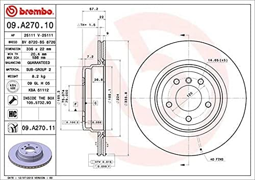 Directly managed store Brembo 09.A270.11 discount UV Coated Disc Rear Rotor Brake