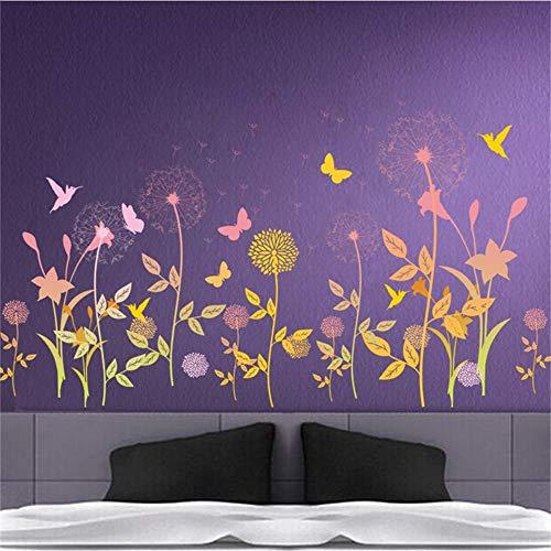 decalmile Stickers Muraux Abeilles de Jardin Autocollant Murale Fleur Papillons D/écoration Murale Chambre B/éb/é Salon Salle de Classe