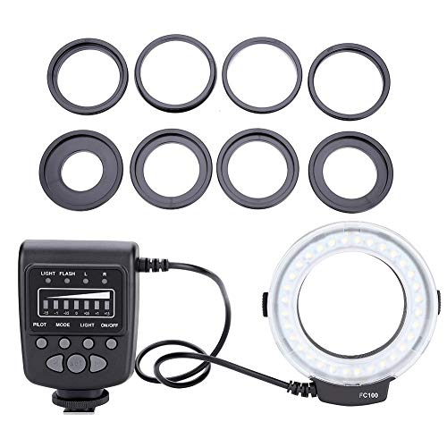 Lampada ad anello a LED per fotocamera, lampada di riempimento flash video 5000K universale con controller flash e adattatori ad anello per Canon 7D 5