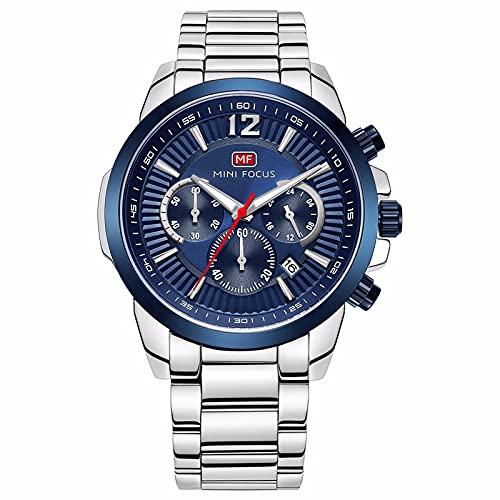 JTTM Reloj Analógico De Cuarzo para Hombre Multifunción Calendario 30M Impermeable Correa En Acero Manos Luminosas Casual Negocio Relojes,Azul