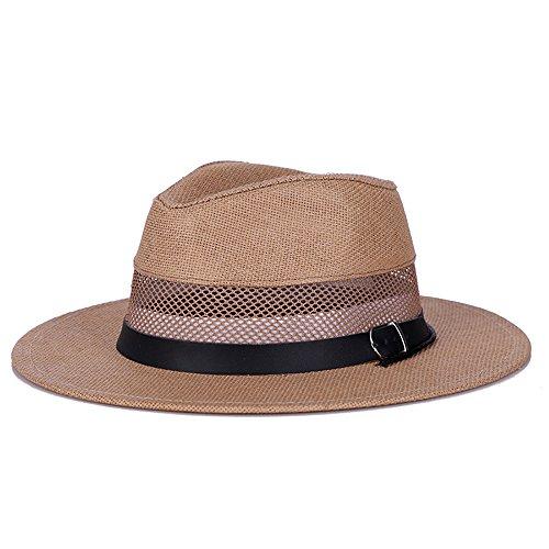 HSRG Hats Chapeau De Paille Grand Bord Soleil Chapeau Femmes Été Plage Cap Floppy Fedora Chapeaux pour Femmes Grils Solaire Chapeau,Khaki
