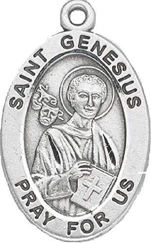 Plata de Ley Oval Colgante Medalla Patrona San Genesius con 20