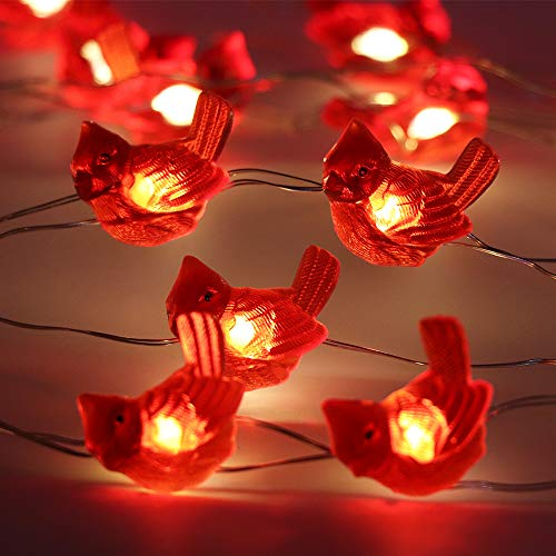 LED String Lights Cardinal Red Bird 10ft 30 LEDs Battery Operated Copper Wire Night Light Outdoor String Light Waterproof Indoor Bedroom Children Girls Room Wall Décor Party Decorations