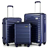"""Coolife Luggage Suitcase 3 Piece Set expandable (only 28"""") ABS+PC Spinner suitcase with TSA Lock carry on 20 in 24in 28in (BLUE)"""