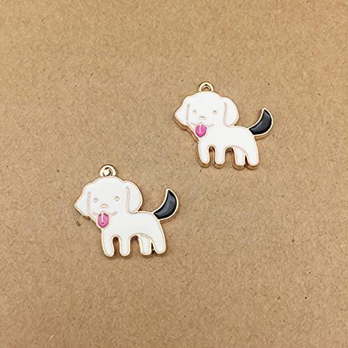 LLBBSS 10 Unids DIY Metal Esmalte Perro Cachorro Panda Encantos De Caballo De Mar Oro Mascota Pulsera Colgantes para Collar Pendiente Material De Fabricación