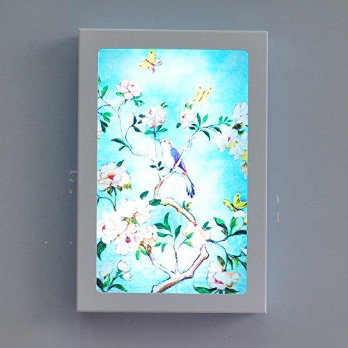 HHCH wandlamp blauw bloemen vogels LED wandlamp (12W) Retro wandlamp