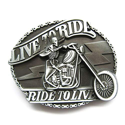 Live To Ride II Skeleton Hebillas de cinturón Belt Buckle