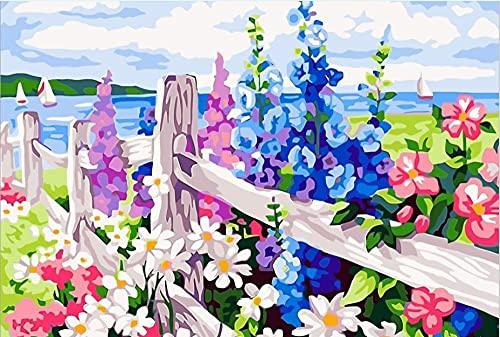 RSNBRY Kit de pintura por números para adultos, para principiantes, pinceles de pintura y pintura acrílica, para decoración del hogar, jardín vallado por el mar, 40 x 50 cm (sin marco)