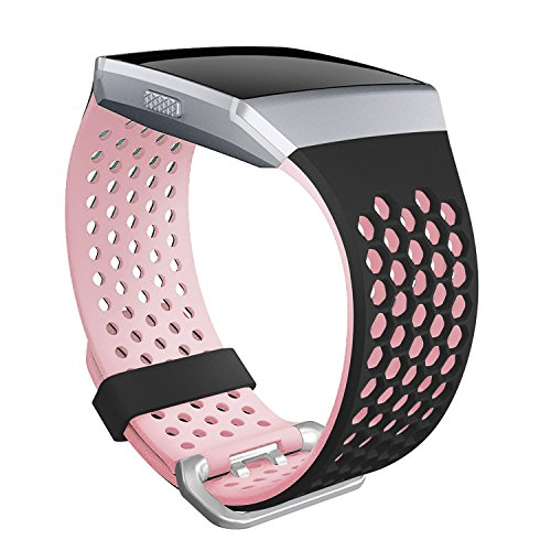 SKYLET Bands Compatible with Fitbit Ionic, Soft Silicone Breathable Replacement Wristband Compatible with Fitbit Ionic Smart Watch with Buckle Women Men (Black-Pink, Large)