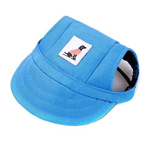 Gelentea Baseballkappe für Hunde, verstellbar, mit Sonnenschutz, Bedruckt, atmungsaktiv, weich, blau, S