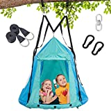 Trekassy 700lbs 2 in 1 Detachable Hanging Tree Swing Tent for Kids Adults with Swivel and...