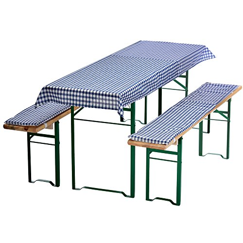 PROHEIM Auflagen-Set für Mini Bierzeltgarnitur Kariert 3-teilig Tischdecke 130 x 70 cm für 110 x 50 cm Biertische und 2 gepolsterte Bankauflagen 110 x 25 cm, Farbe:Blau