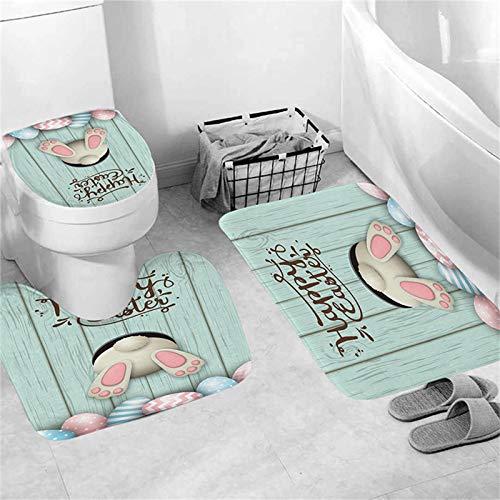 Oster-Duschvorhang, Bodenmatten, 4-teiliges Set, Cartoon-Hasen-Ei-Imitation, Holz-Design, personalisiertes Badezimmer-Zubehör, Duschkabine, WC-Teppichmatten