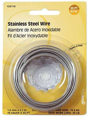 The Hillman Group 123114 19-Gauge Stainless Steel Wire 30-Feet Display Package, 1-Pack