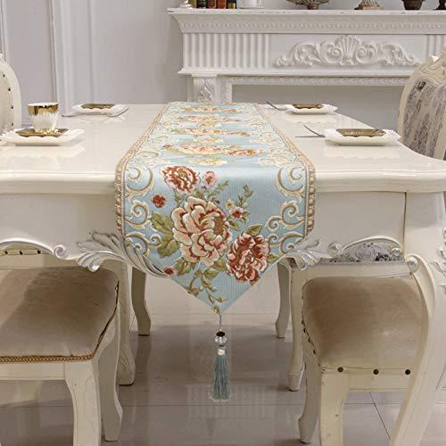 YDDZ Runners tafelloper, plantaardig borduurmotief en handgemaakte kwastaccessoires, geschikt voor het decoreren van eettafels, bruiloften, feesten, tv-kasten, vakantiedecoraties ++