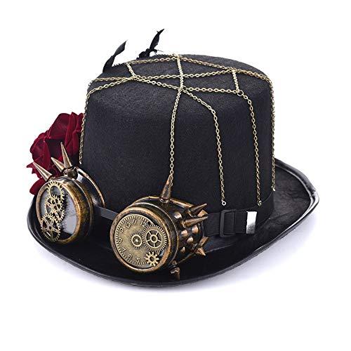 RZL Domo Sombreros, Steampunk Rose Top Hat Role Playing Hat Retro Mujer 2019 Steampunk Top Hat con Gafas Retro Ropa Accesorios (Color : Black, Size : 57cm)