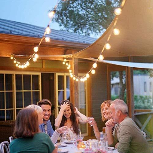 Luces de hadas al aire libre, luces de cuerda con bombillas de 30 globos, red eléctrica 9.7m Festón blanco cálido Iluminación para piezas de interior Gazebo Patio Cerca de Decoraciones de Navidad
