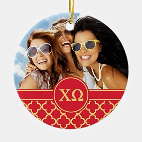 tian huan88 Christmas Ornaments,Round Chi Omega Monogram And Photo Ceramic Ornament XMAS Gifts Presents, Holiday Tree Decoration Stocking Stuffer Gift
