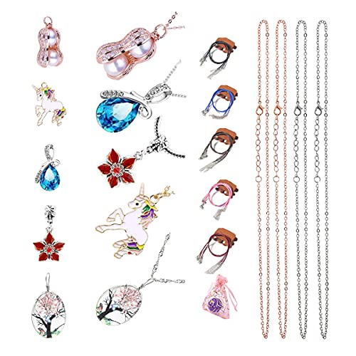 DIY Charm Necklace Making Kit include 5 different Styles Pendant and 5Pcs...