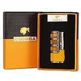 ZGQA-GQA CIGUE BLIMBER BUTANE 3 Briquet de flammes à jet de torche avec cigares Couper Punch Accessoires Coin-cadeau Cigarette coupe-vent (Color : With Gift Box)
