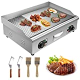 VEVOR 110V 29' Electric Countertop Griddle Grill 4400W, Non-Stick Commercial Restaurant Grill, Stainless Steel Flat Top Grill, Teppanyaki Grill with Adjustable Temperature Control 122°F-572°F