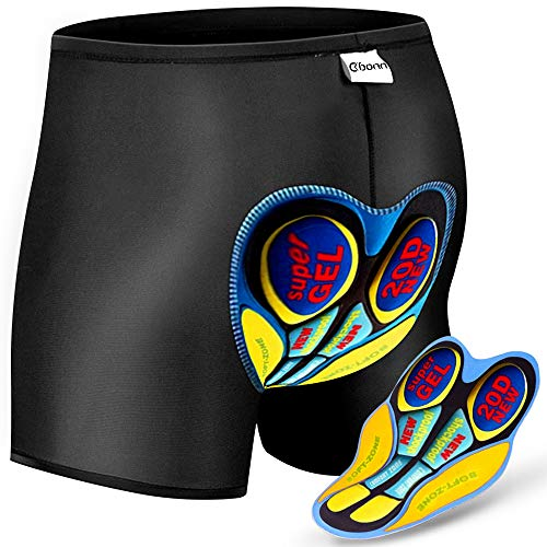 OKBONN 3D Fahrradhose Gepolstert Atmungsaktiv Radhose Unterhose Kurz Hose Shorts 3D Gel Pad für Herren Anti-Shock Breathable Fahrradhose Shorts(20D
