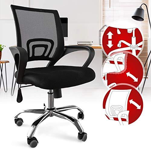Bürostuhl - ergonomisch, mit Armlehnen und Rollen, Netzbezug und Wippfunktion, höhenverstellbar, bis 120kg belastbar, Schwarz - Chefsessel, Drehstuhl, Schreibtischstuhl, Computerstuhl für Home Office