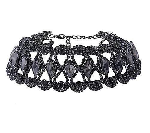 Tiande Sexy Rhinestone Choker Necklace for Women Dainty CZ Diamond Gem Chokers for Women Girls - Black
