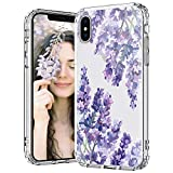 MOSNOVO Case for iPhone Xs Max, Lavender Floral Flower Slim Clear Case Design with Shockproof TPU Bumper Protective iPhone Xs Max Phone Case for Women Girls