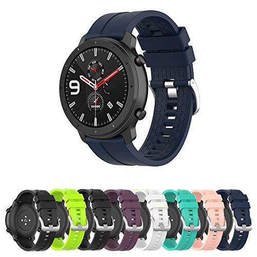 Pulseira Silicone 22mm para Amazfit GTR 47mm - Samsung Galaxy Watch 46mm - Gear S3 Frontier - Gear S3 Classic - Marca Ltimports (Azul Marinho)