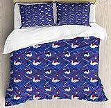 Asaffs Funda de edredón para cama individual, diseño de olas minimalistas japonesas, diseño de cisnes origami, color azul oscuro