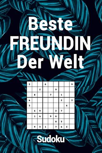 Beste Freundin Der Welt - Sudoku: Spannendes Sudoku Rätselbuch I 300 Rätsel inkl. Lösungen & Anleitung I Palmblatt Blau I Schönes Geschenk zu Weihnachten oder Geburtstag