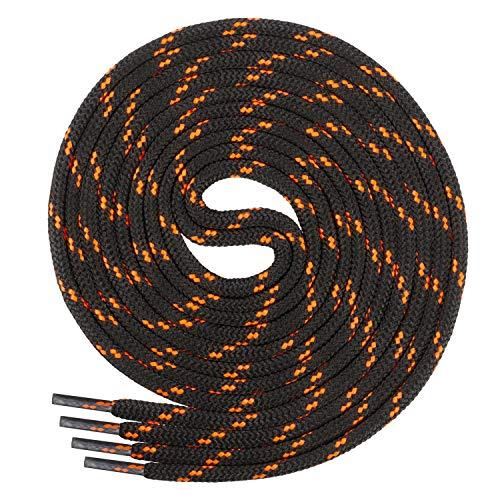 Di Ficchiano runde SCHNÜRSENKEL für Arbeitsschuhe und Trekkingschuhe - sehr reißfest - ø ca. 4,5 mm, Polyester - SP-01-black/n.orange-160