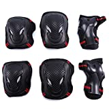 Selighting Protective Gear Set 6 in 1 Adults Teens Kids Knee Elbow Pads Wrist Guards for Skateboarding Riding Cycling Scooter Rollerblading Roller Skating (Black/Red, S)