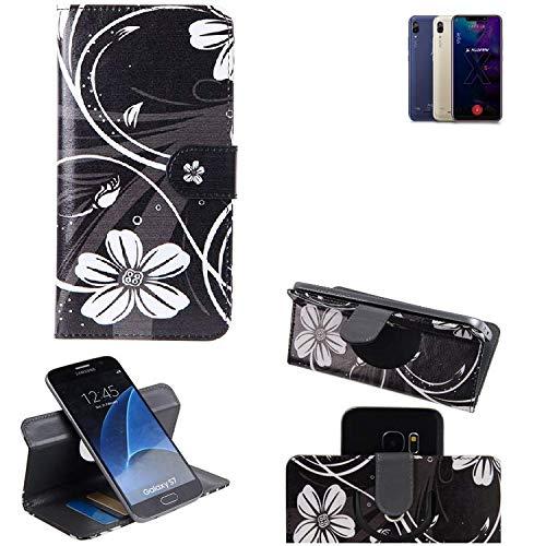K-S-Trade® Schutzhülle Für Allview Soul X5 Style Hülle 360° Wallet Case Schutz Hülle ''Flowers'' Smartphone Flip Cover Flipstyle Tasche Handyhülle Schwarz-weiß 1x