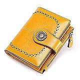 AHAQ Carteras de Marca Cartera Corta para Mujer Monedero de Cuero con Cera de Aceite Cartera de Tarjeta con Cremallera de Moda,Amarillo