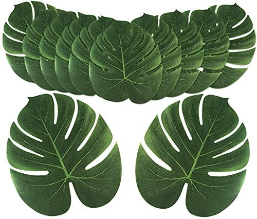 Palmier Artificielles, 12 Feuilles Feuille De Palmier Pour Décoration De Fête Hawaïenne Decoration Jungle (6 Inch)