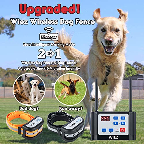 WIEZ Wireless Dog Fence Electric & Training Collar 2-in-1, Dual Antenna, Adjustable Range Control 100-990 ft, Adjustable Warning Strength, Rechargeable,Harmless for All Dogs,Outdoor,2 Collars (Black)