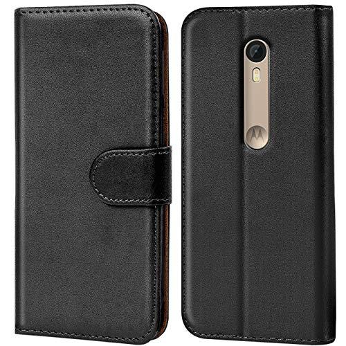 Verco Moto G3 Hülle, Handyhülle für Motorola Moto G 3 Gen. Tasche PU Leder Flip Case Brieftasche - Schwarz