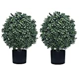Kissilk 2 Pack Artificial Boxwood Topiary Ball Tree,Bushes Potted Plants UV-Proof Leaves 21' Tall 13' Wide Artificial Potted Shrubs for Home Office Outdoor and Indoor Decor (Dark Green, 22)