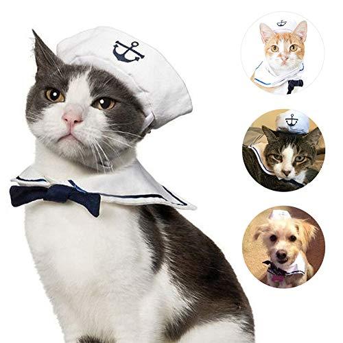 ZOOENIE Haustierkostüm für Hunde und Katzen, lustiges Piraten-Motiv, inkl. Hut, Haustier Hund Katze Halloween Kostüme, Hundekostüm Sailor Kostuem Hut Marine