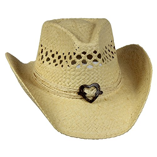 Saddleback Hats Natural Vented Straw Cowboy Hat w/Wood Heart Band Shapeable Cowgirl Western